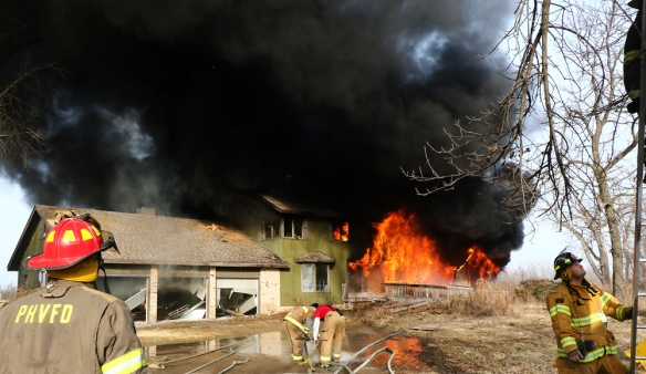 Ponca Hills fire fighters as well as Fort Calhoun and Washington County departments took advantage of the opportunity to train with live fire at Boyer Chute Saturday.