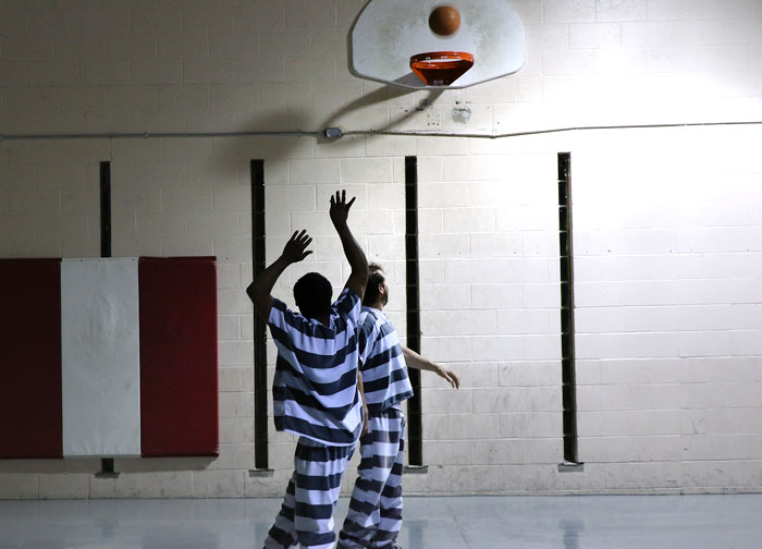 Inmates at the Washington County Jail play basketball during re time.  Inmates are allowed one hour or recreation  time a day.