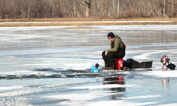 Jason Rosenbalm  was enjoying the opening day of ice fishing at the south endof   Lake DeSoto at DeSoto Bend National Wlldlife Sanctuary on Friday, January 2.