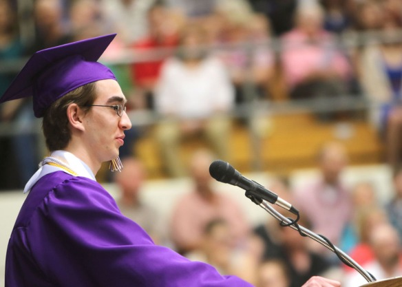 Caleb Schmidt delivers Welcome address, Blair Commencement 2015