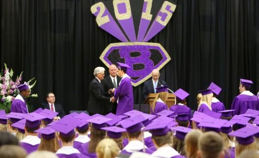 Dillon Boseck receives diploma, Blair Commencement 2015