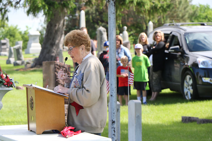 Doris Stokes served as Master of Ceremonies for the Blair Memorial Day service.