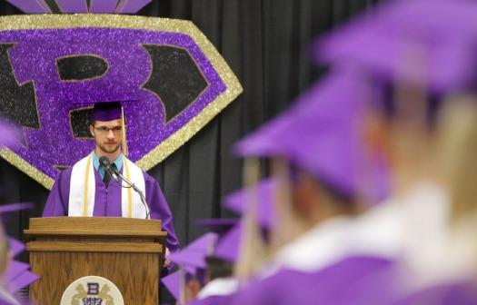 Dean Penner delivers the Challenge address, Blair Commencement 2015