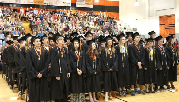 Principal Jerry Green presents the Fort Calhoun Class of 2015.