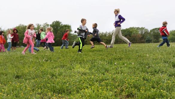 Pre school students and Miss Lauren run in relay Blair Pre-school, Deefield, Lauren Diffey