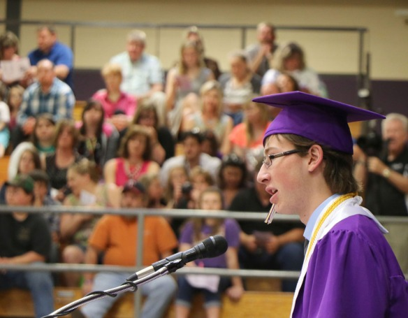 Shane Stan, delivers Closing address Blair Commencement 2015
