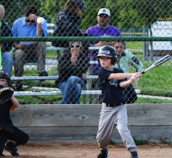 Bo Meier, Toledo Mudhens gets a hit. Rookie League Kid Pitch/Coach Pitch baseball ( Rookies)