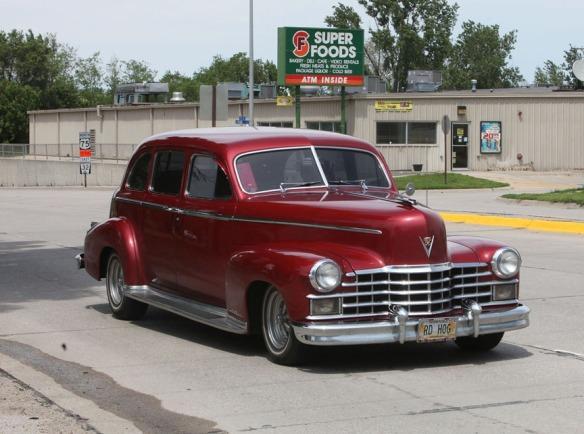 Classic Cadillac on Highway 75 into Blair.Nebraska Rod and Custom Association