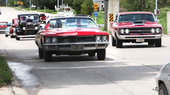 Classic and Custom  cars stream into Blair on Highway 75 from Sioux City..