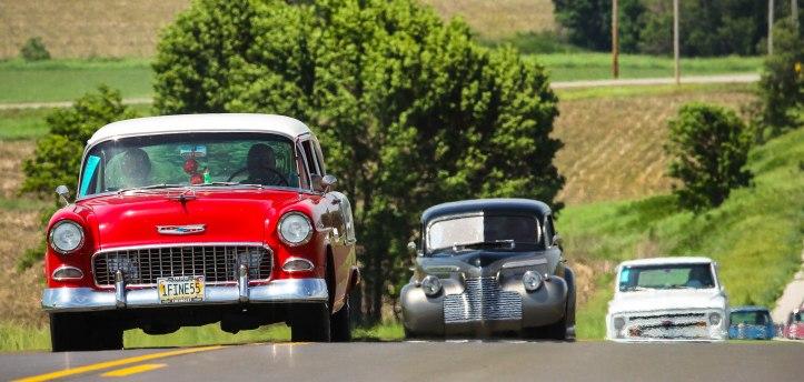 Vintage vehicles caravanned through Washington County on the Nebraskas Rod and Custom Association 2015Tour Nebraska.