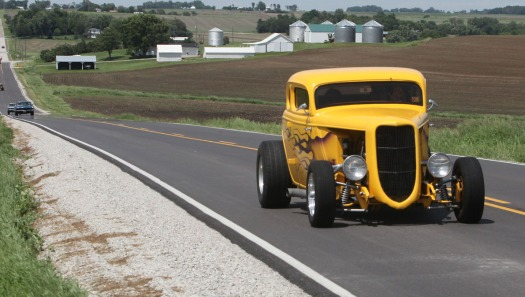 Vintage vehicles on County Road15 in Washington County.