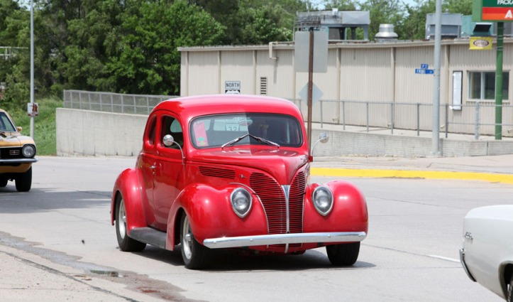 Vintage vehicles stream  through Blair and Washington County on the Rod and Custom Association 2015Tour Nebraska.