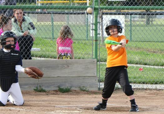 Hans Sorensen  get a hit.  Rookie League Kid Pitch/Coach Pitch basball