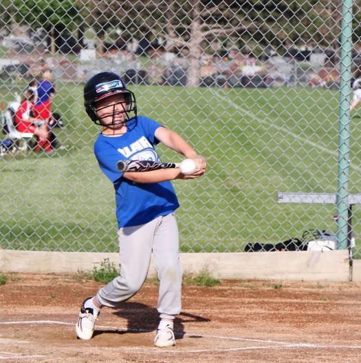 Midland Rockhounds Jase Bensen connects Rookie League Kid Pitch/Coach Pitch basball