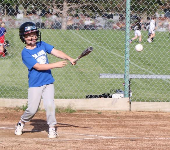 Jase Bensen gets hit, Rookie League Kid Pitch/Coach Pitch basball