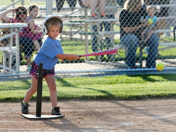 Kaylie Johnson  gives the ball a ride. Blair Youth Softball k-1 Division