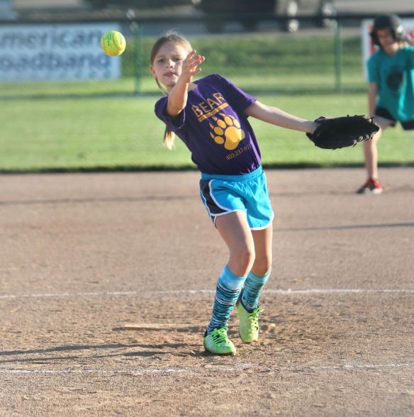 McKenna Smoyer grade 2-3 division  pitches,  Blair Youth Softball league