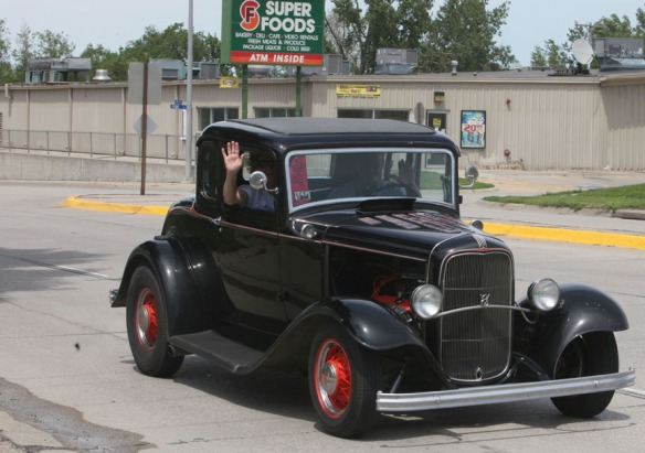 Model A Ford on Highway 75 and Fron Street in blair.