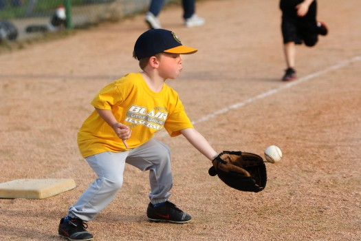 Tee ball Nathan Murray is ready to make the play at first.