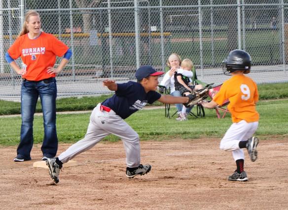 Toledo Mudhens   Cornez Tucker Jr. makes the play at third base  Rookie League Kid Pitch/Coach Pitch baseball