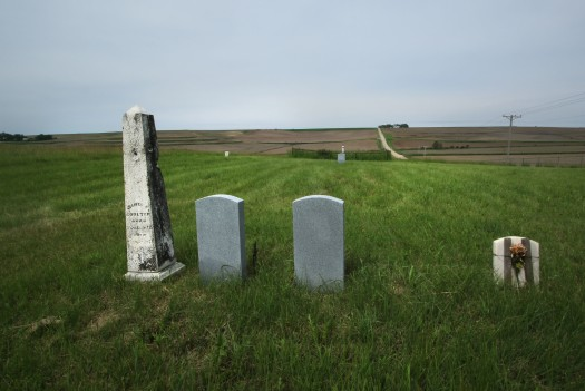 Plot markers at Brewster Cemetery,  Washington County.