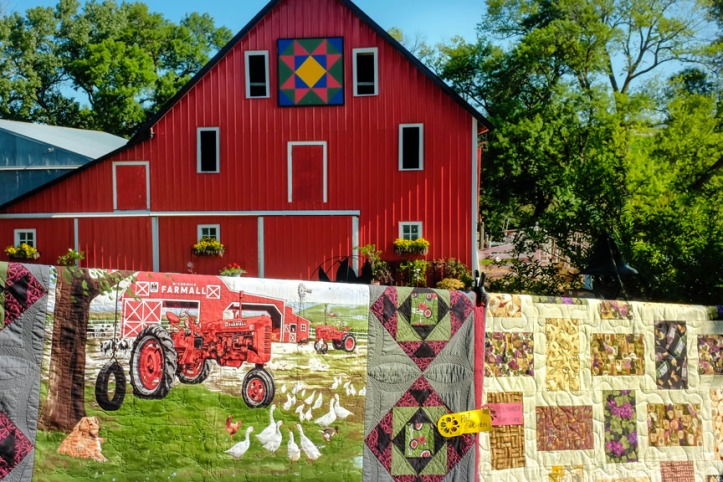 "Around 160 quilts were on display throughout the lawns gardens  and farmyard at the home of Doug and Teri Wolfe. This is was the fourth annual ""Quilts in the Country."""