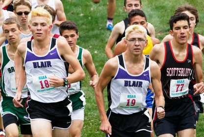 Alec and Even Wick compete in Boys Class B State Cross Country completion at Kearney, NE.