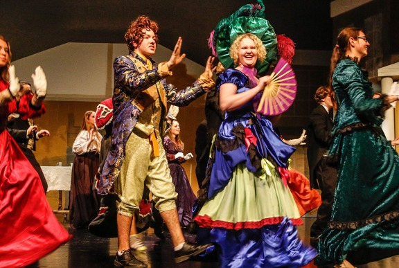 Mitchell Guynan and Kate Lacey as Thanardier and Mme. Tehnardier the crash a reception party to announce the engagement of Marius and Cossette.