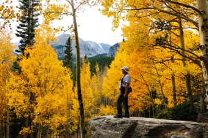 Admiring the deep yellow Aspen trees along the trail to Bear Lake,