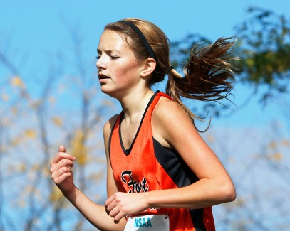Fort Calhoun freshman Taya Skelton on her way to winning the Girls Class C State Cross Country Championship title at ,Kearney, NE.
