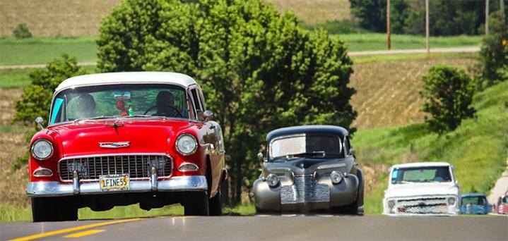 Nebraska Rod and Custom Association tour long county roads.