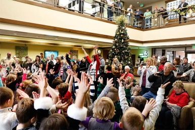 Parents and grand parents filled Washington County Bank on Monday morning to hear Blair Community Schools kindergarten students sing holiday favorites.