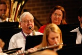 Joe Chapman plays saxophone with the Blair Area Community Concert