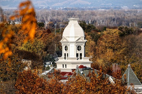 While roof work continues, repairs to the Washington County Courthouse cupola were completed in late autumn.