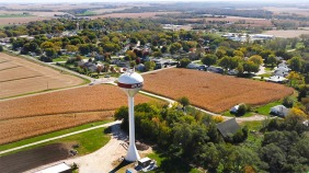 Birds eye view of Arlington, NE Water tower from the rear seat of Dondi Eckert's powered parachute.