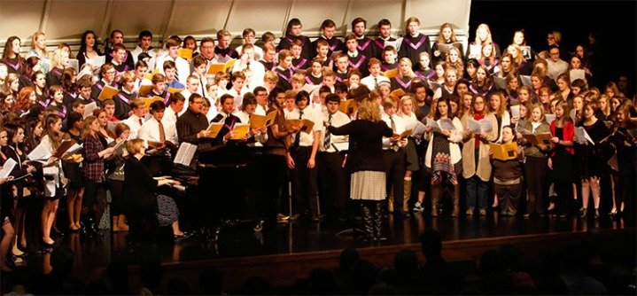 Current and former choir members and friends sing the Hallelujah Chorus from Messiah by G.F. Handel.
