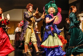 Mitchell Guynan and Kate Lacey as Thanardier and Mme. Tehnardier perform in the Blair High School production of Les Miserables.