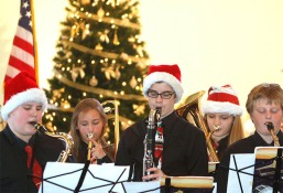 Otte Jazz Band at Good Shepherd. From left: Kellen Hartzell (tenor saxophone), Shania Stahlnecker (trombone), Benjamin Brunick-Clark (bass clarinet), McKenzi Duncan (euphonium), Max Horak (alto saxophone)