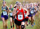 Taya Skelton leads the pack during the Fort Calhoun Invitational cross country meet her at Fort Atkinson.