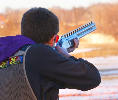 James Cavanaugh aims for a clay target at the Harry A. Koch Trap and Skeet Range. James is a member of the Blair Youth Shooting Sports organization.
