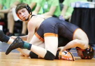 Fort Calhoun junior Dylan Hartline wins his first match at 126 pounds in Class C state wrestling competition.