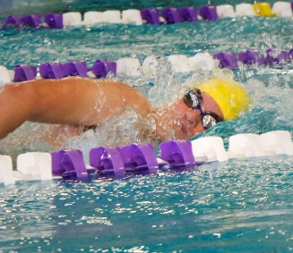 Elliot Roth, wins his heat of the 200 yard Freestyle at the Blair Swim meet.