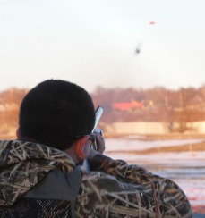 Otte middle school student Jacob Rupp is on target as he fires at a clay target at the Harry A. Koch Trap and Skeet Range. James is a member of the Blair Youth Shooting Sports organization.