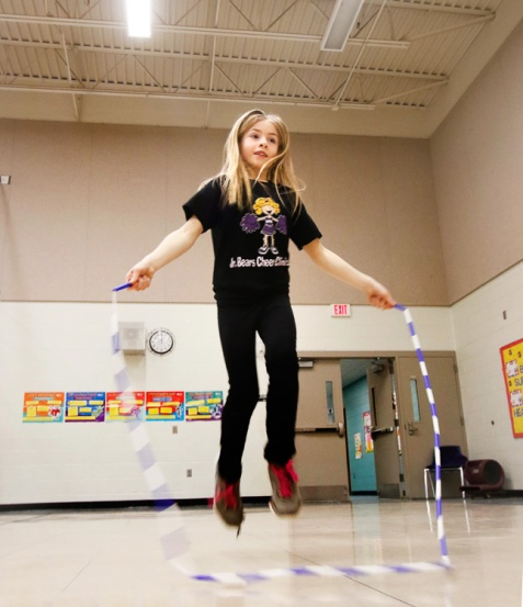 North School first grade student jumps rope.