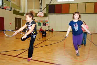 Deerfield Second grade students jump rope.