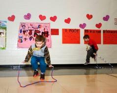 North School Kindergarten students jumping rope.