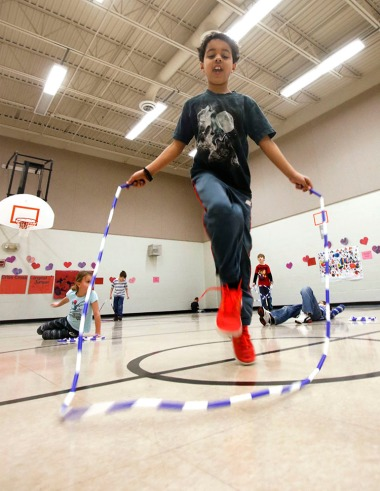 North first grade student .jumps rope