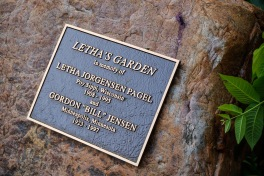 Plaque on a stone commemorating Letha's Garden