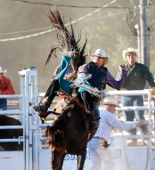 Bareback rider Blake Moore Friday Rodeo
