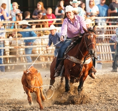 Breakaway rider DoDelle Mueller Saturday night rodeo